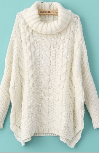 cableknit cream turtleneck